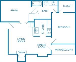 820 sq. ft. The Woodlands floor plan
