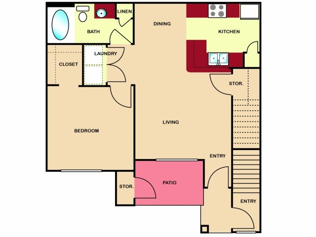 692 sq. ft. to 721 sq. ft. A1 floor plan
