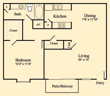 759 sq. ft. C floor plan