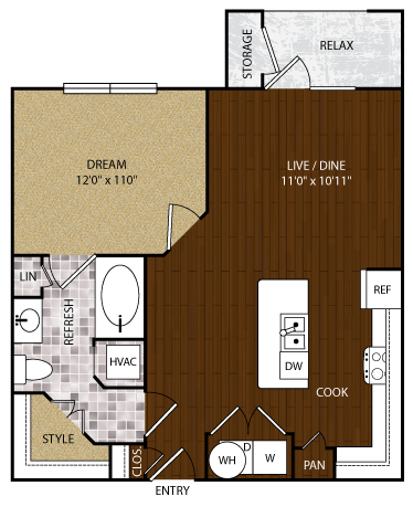756 sq. ft. A-2 floor plan