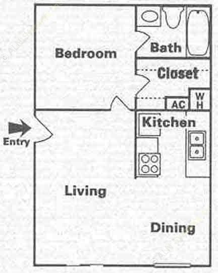 601 sq. ft. A-1 floor plan