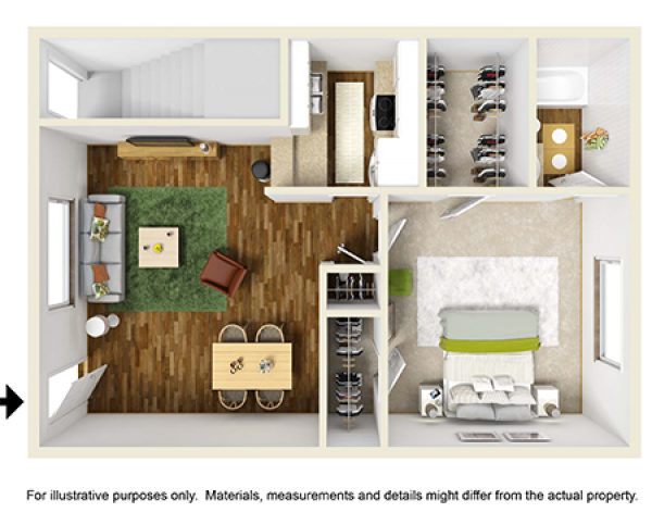 716 sq. ft. floor plan