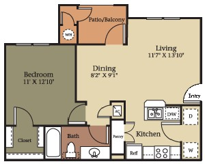 664 sq. ft. A1/60% floor plan