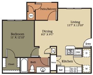 664 sq. ft. A1/60% floor plan