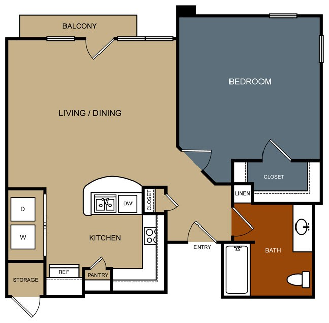 786 sq. ft. A5/50% floor plan