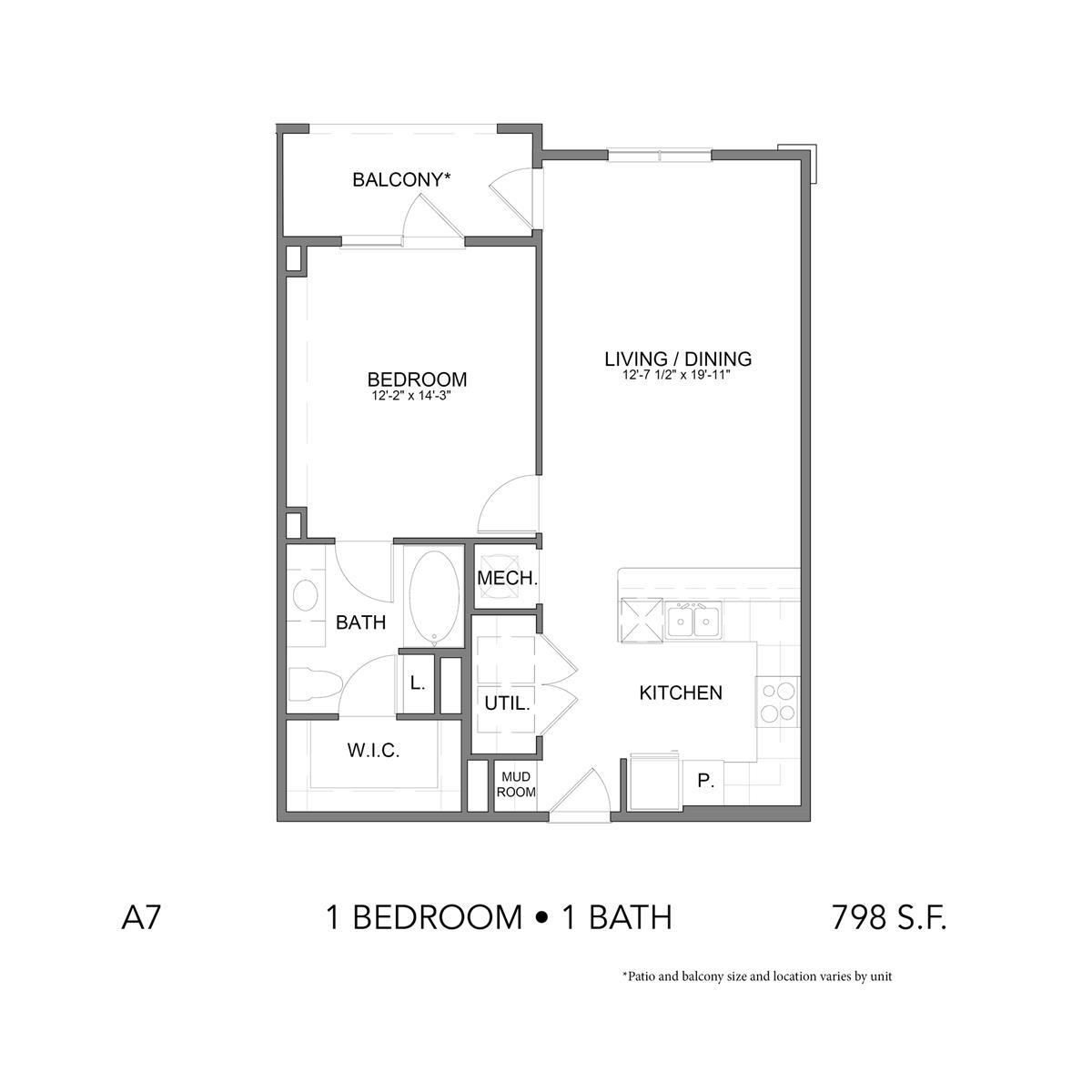 798 sq. ft. A7 floor plan