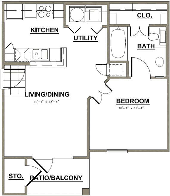 550 sq. ft. Willow Oak floor plan