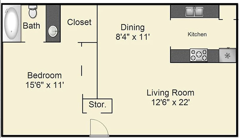 670 sq. ft. A floor plan