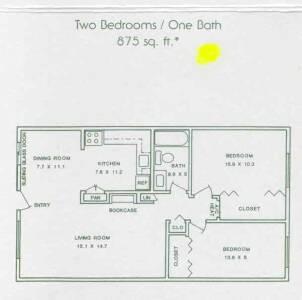 875 sq. ft. ABP floor plan
