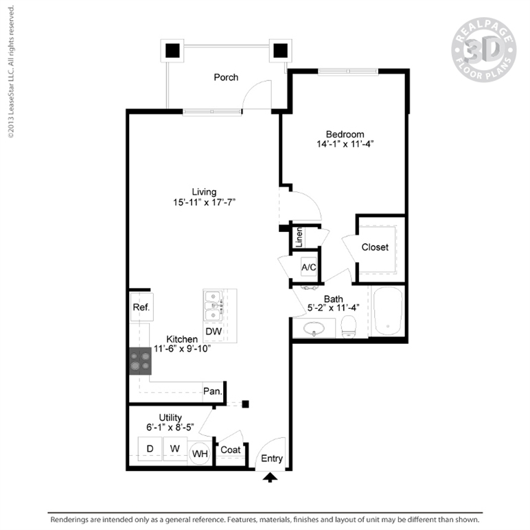 927 sq. ft. A5 floor plan