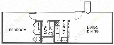 600 sq. ft. A/Cottage floor plan