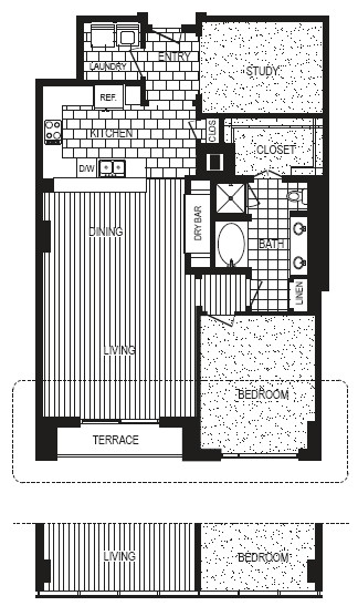 1,301 sq. ft. to 1,311 sq. ft. F floor plan