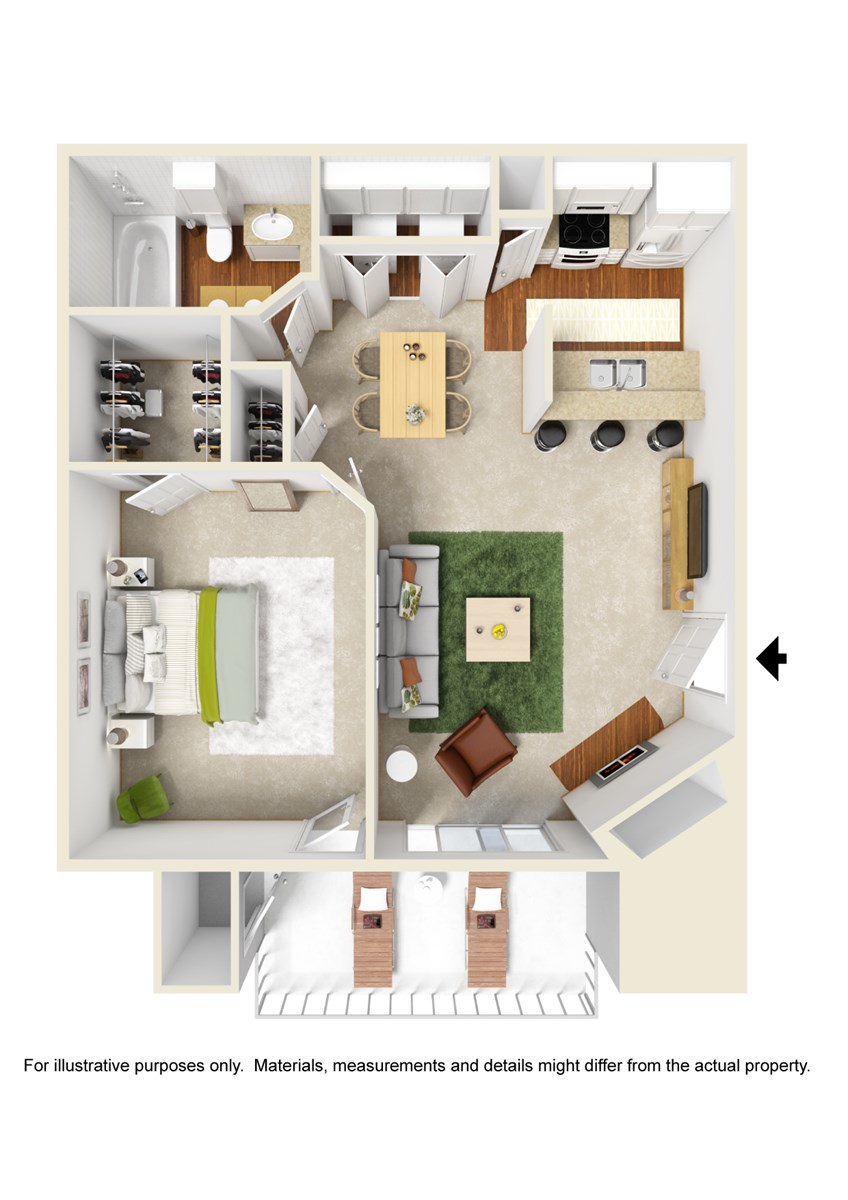 529 sq. ft. A1 floor plan