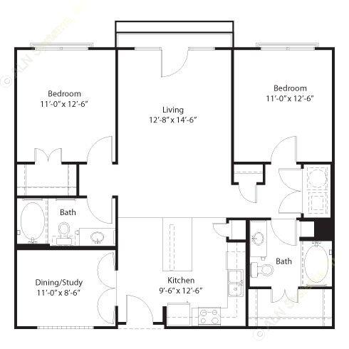 1,126 sq. ft. Travis floor plan