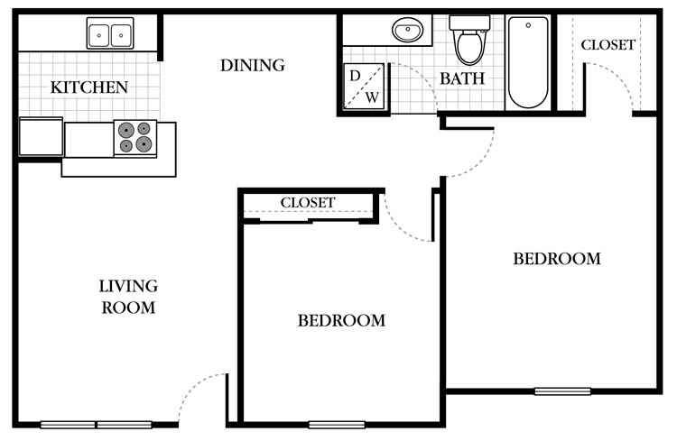 732 sq. ft. Buckingham floor plan