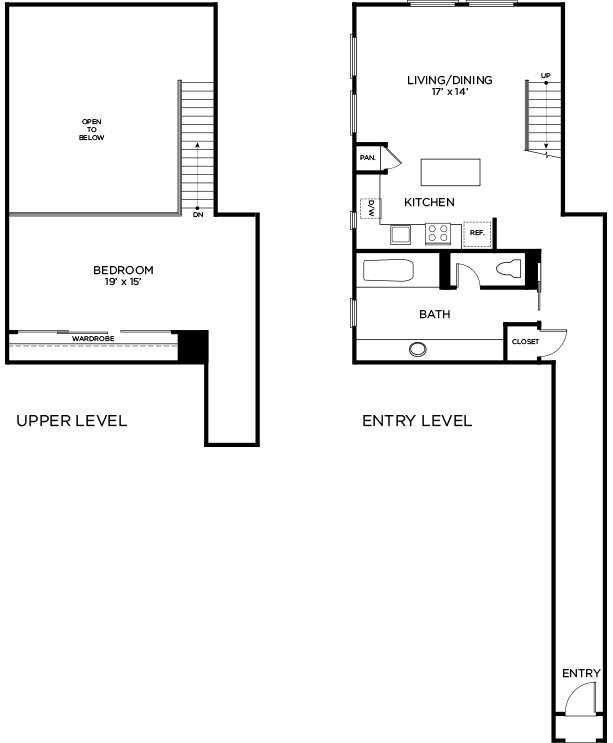 1,132 sq. ft. to 1,193 sq. ft. C1 - PH floor plan