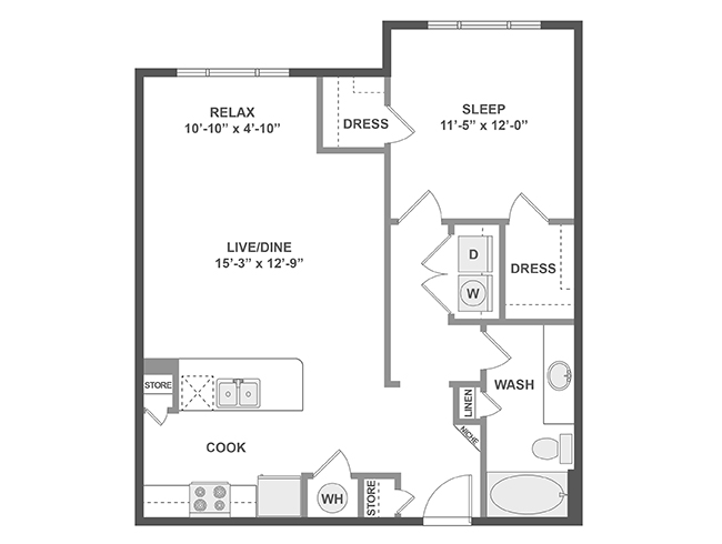 821 sq. ft. A4s floor plan