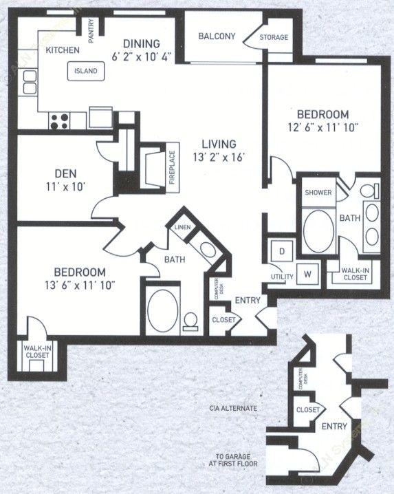 1,302 sq. ft. C1 floor plan