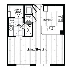 525 sq. ft. E1 floor plan