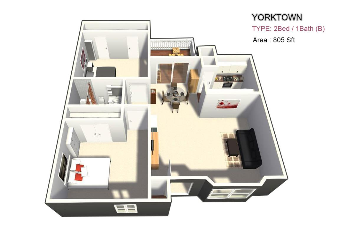 810 sq. ft. 1X1 floor plan
