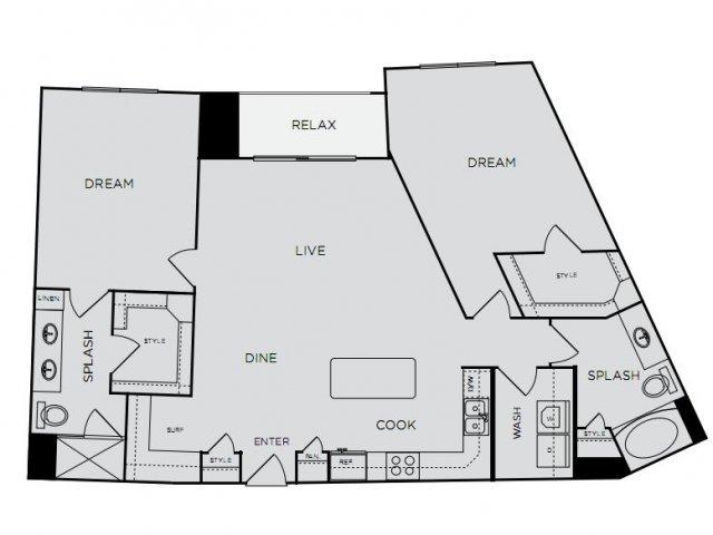 1,346 sq. ft. C1ab floor plan