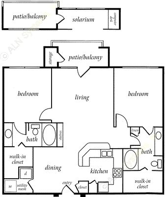1,142 sq. ft. CAMBRIDGE floor plan
