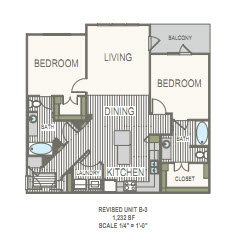 1,232 sq. ft. 2E floor plan