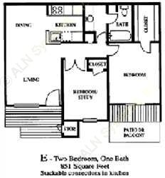 851 sq. ft. B1 floor plan