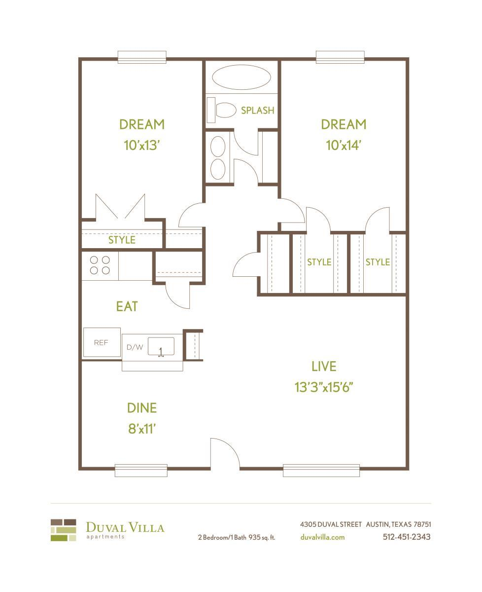 935 sq. ft. B floor plan