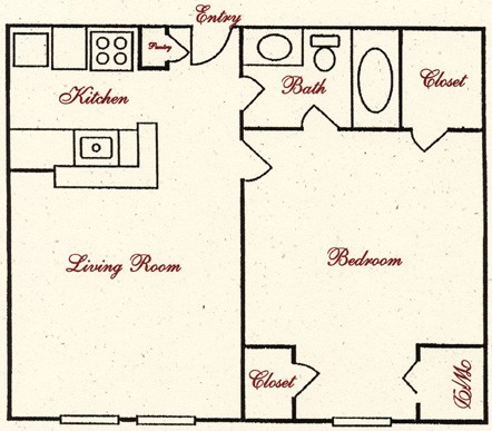 518 sq. ft. E5 floor plan