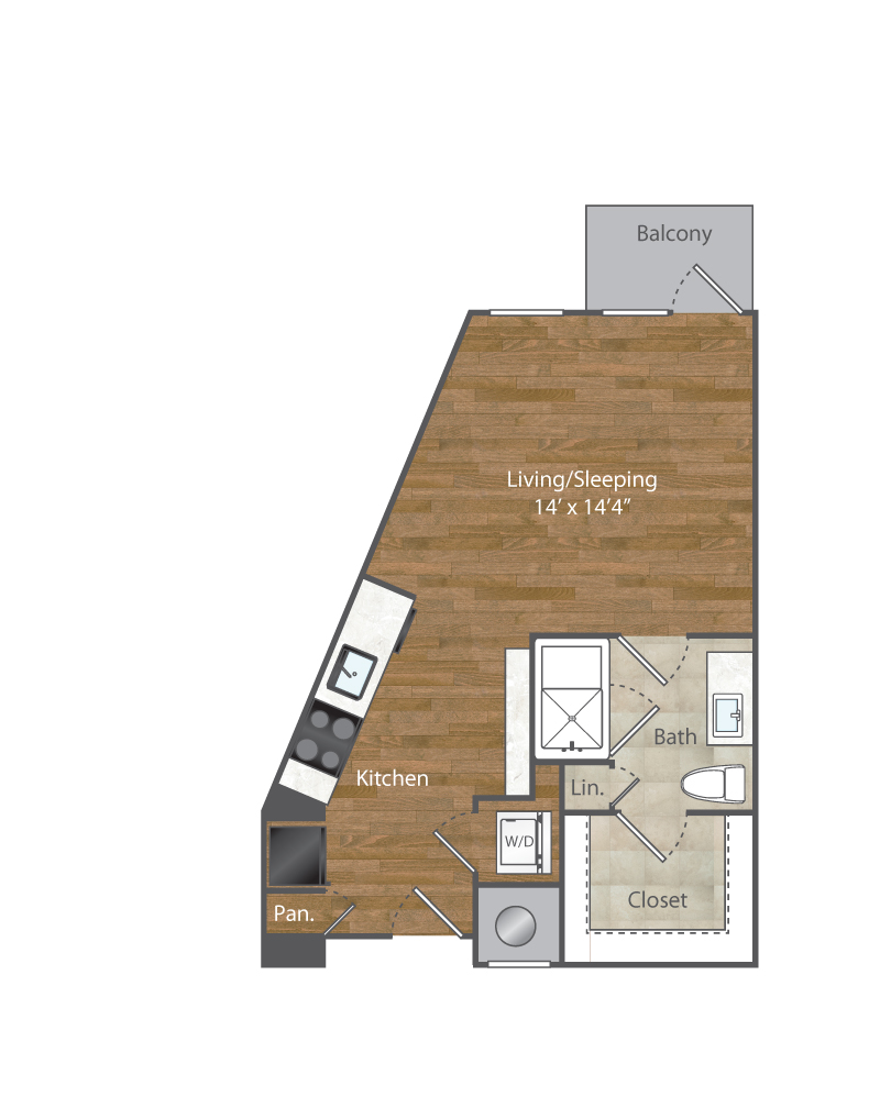 553 sq. ft. S1 floor plan