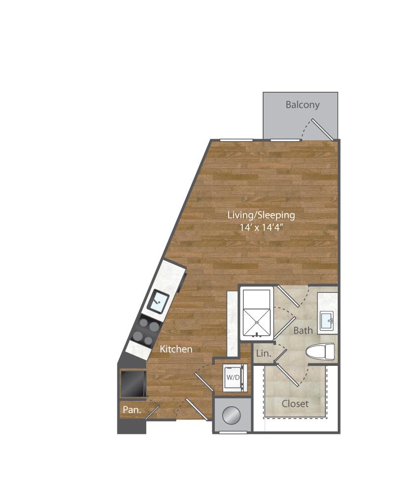 553 sq. ft. S1 floor plan