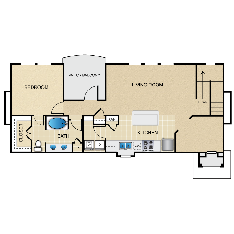 1,047 sq. ft. A6G floor plan
