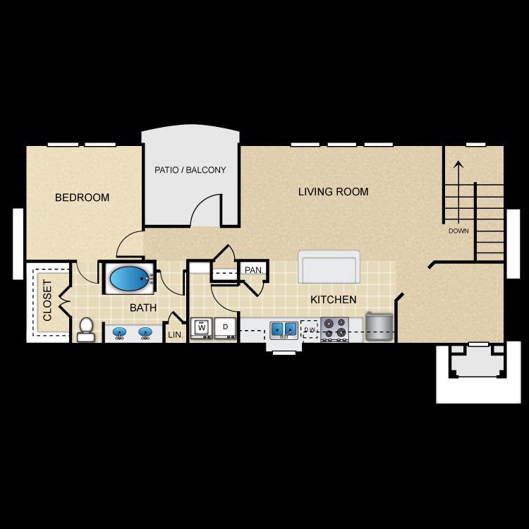 1,047 sq. ft. A6G floor plan