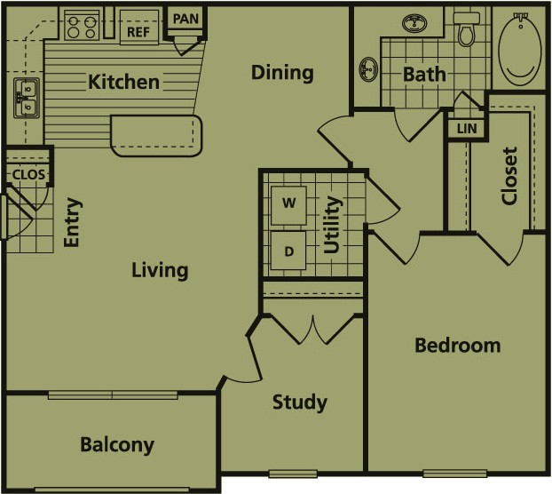 964 sq. ft. C floor plan