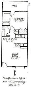 689 sq. ft. E floor plan