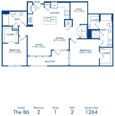 1,264 sq. ft. B6 floor plan