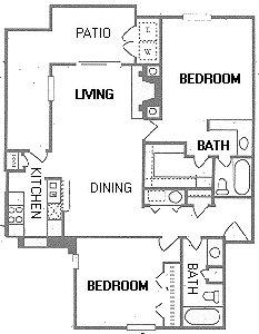 1,080 sq. ft. B4/B5 floor plan