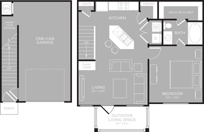 750 sq. ft. Erie floor plan