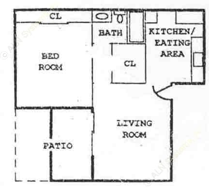 590 sq. ft. A2 floor plan