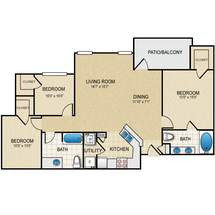 1,234 sq. ft. Sabine floor plan