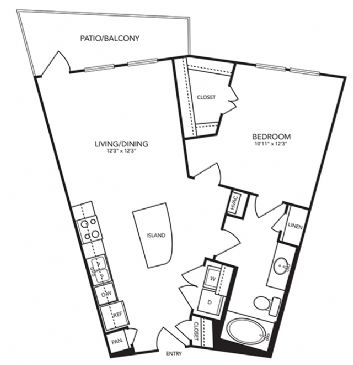 735 sq. ft. A3 floor plan