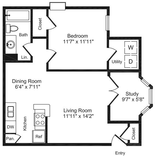 711 sq. ft. B1 floor plan