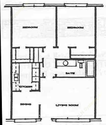 870 sq. ft. B-1 floor plan