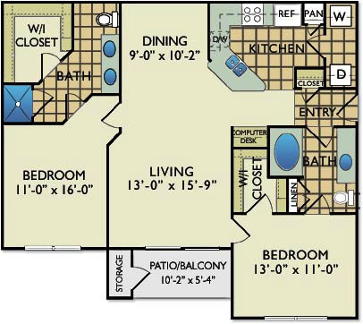 1,116 sq. ft. C5 floor plan