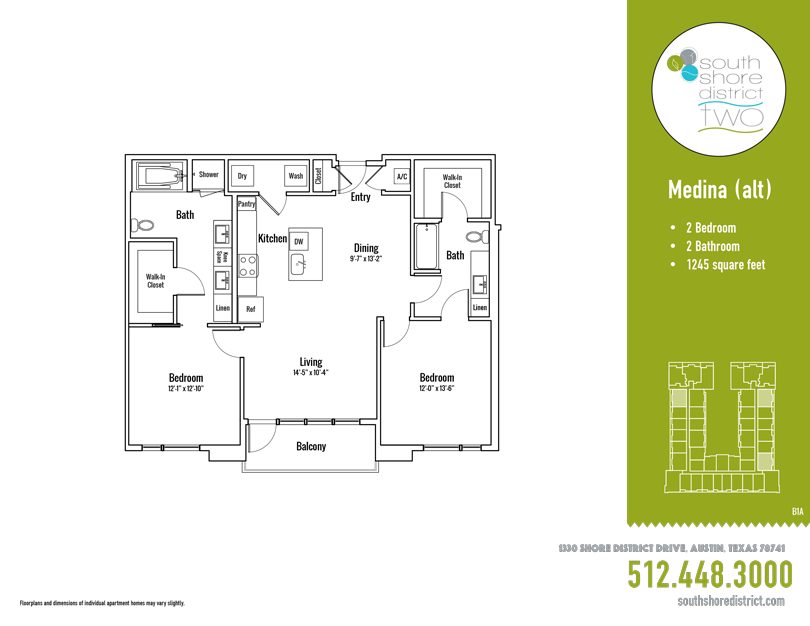 1,245 sq. ft. Medina Alt floor plan