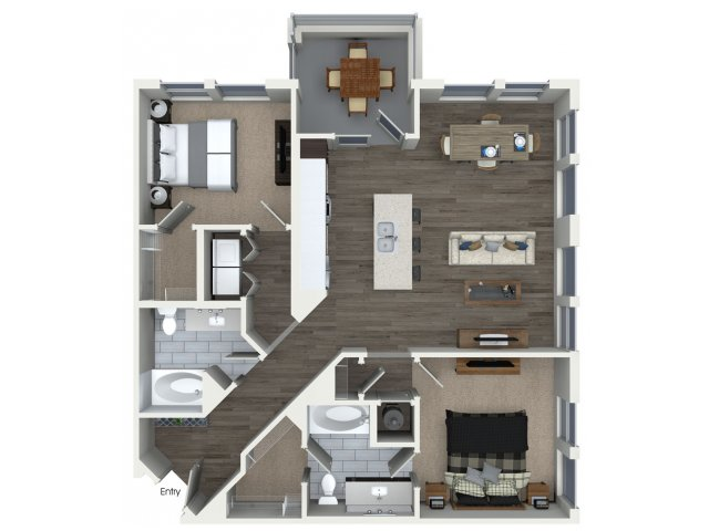 1,156 sq. ft. B2.1 floor plan