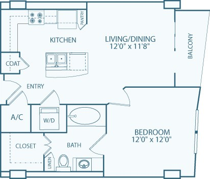 684 sq. ft. to 728 sq. ft. A6 floor plan