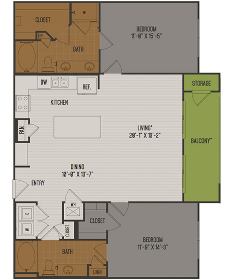 1,249 sq. ft. C2 floor plan