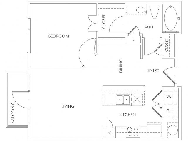 684 sq. ft. to 719 sq. ft. A1 floor plan
